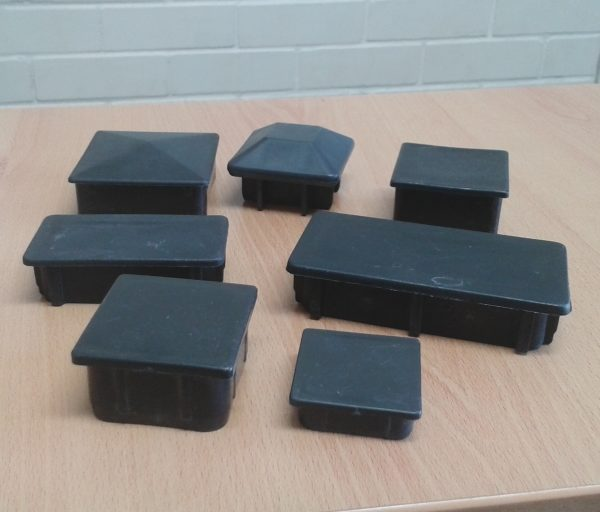 Black square and rectangle plastic post caps for steel