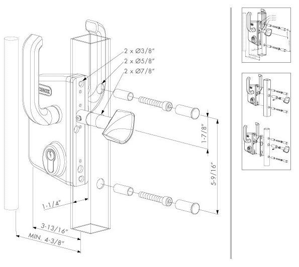 Locinox sliding gate lock dimensions