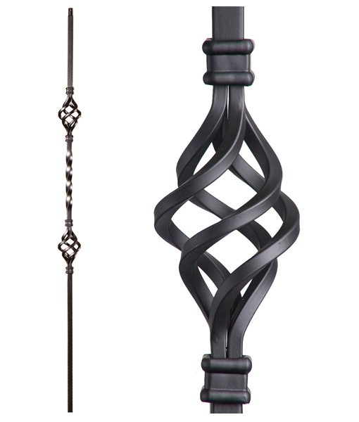 Double basket wrought iron baluster picket single twist