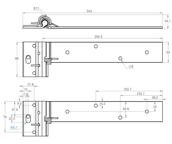 G102SPZNL Goliath sprung ball bearing hinge