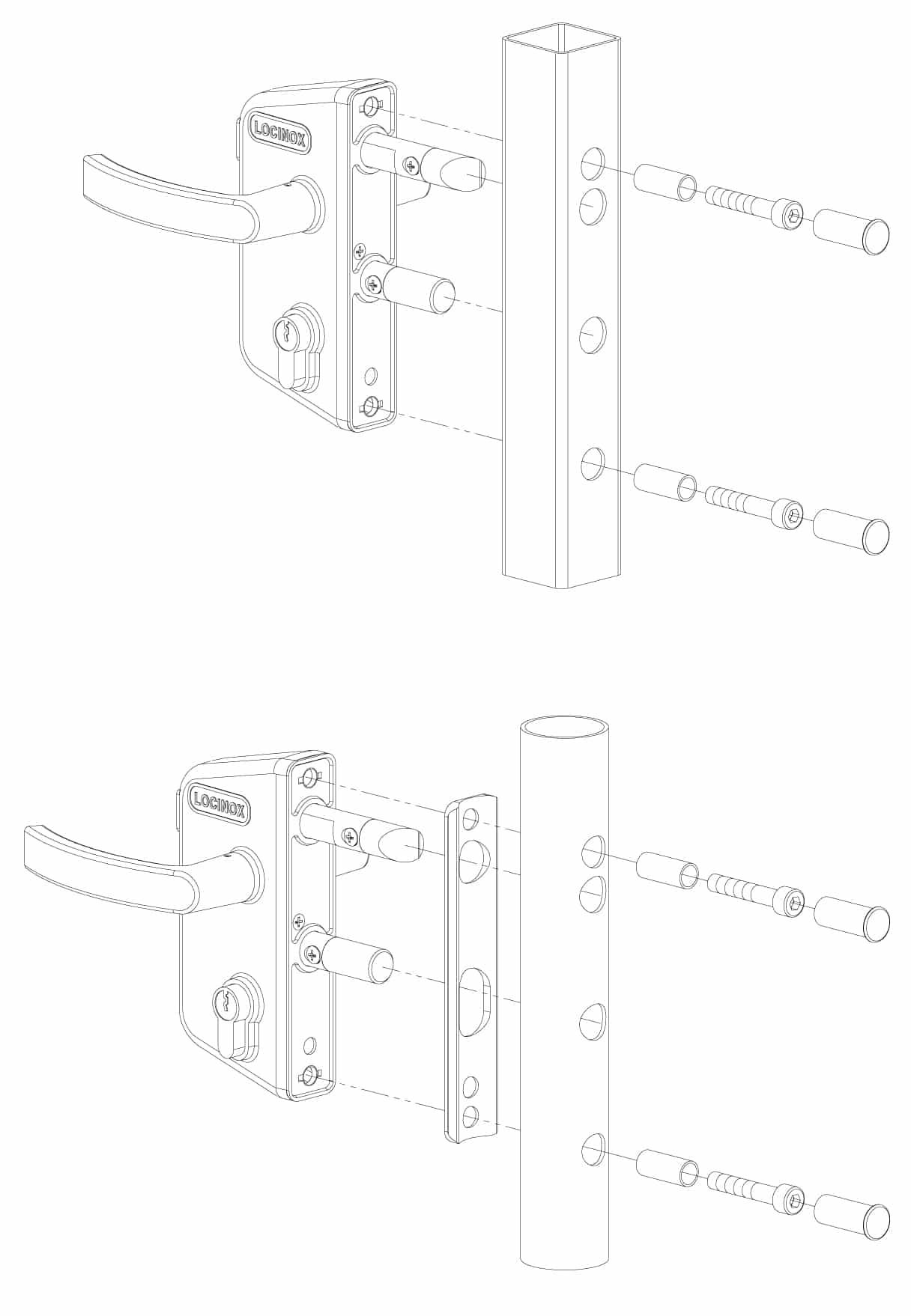 LAKZ4040P1L Locinox garden gate lock install diagram