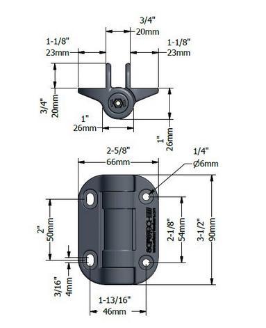 SHG90L Safetech TopKlik hinge dimensions