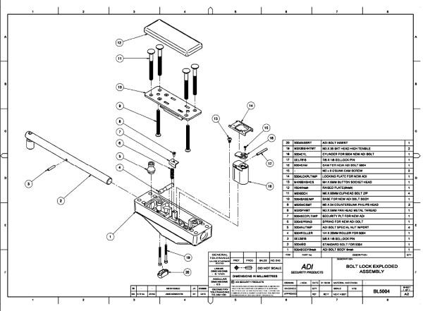 ADISL5 Key Locking Security Bolt assembly diagram