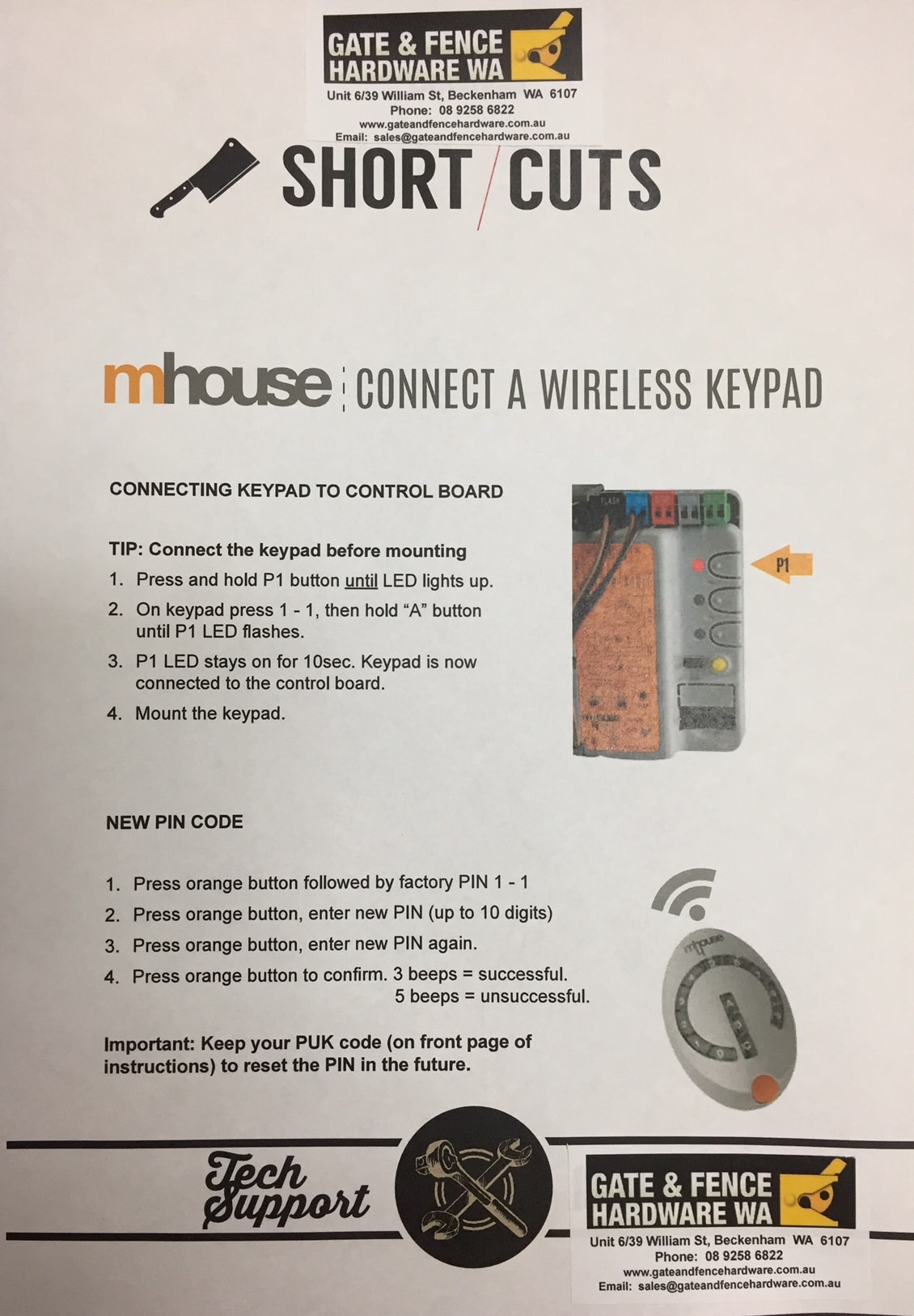 AAC-DS1 Mhouse Wireless keypad Connect Flier