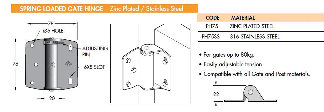 D Australia PH75 sprung steel hinges