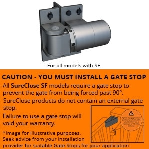 Sure close ready fit gate stop wwarning