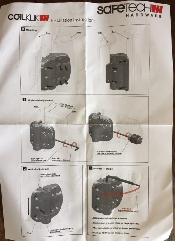 SHC135 Coil Klik Safetech Hinge install instruction sheet 1