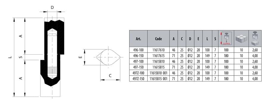 Comunello 497-100 weld on drop hinge dimensions