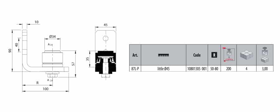 Comunello 87L-P steel bottom bearing hinge dimensions