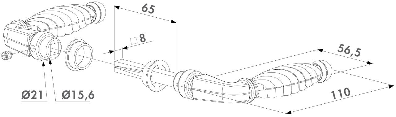 3006FAD16 Locinox handle set diagramme